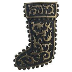 JJ Jonette Christmas Antique Bronze Stocking Pin