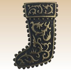 JJ Jonette Christmas Antique Bronze Stocking Pin