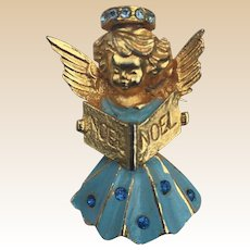Noel Christmas Blue Rhinestone Angel Pin