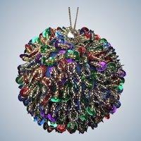 Beautiful Vintage Handmade Retro Sequin Beaded Christmas Ornament