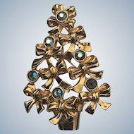 1992 Avon Christmas Tree Pin With Aurora Borealis Bows Book Piece