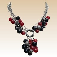 Chunky Red and Black Beaded Silver Tone Necklace