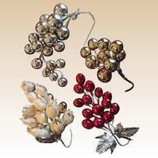 Christmas Mercury Glass Grape Clusters Set of Four