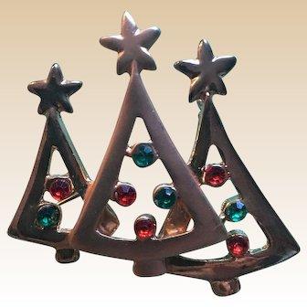 Unique Triple Christmas Tree Rhinestone Pin