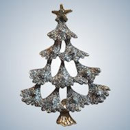 Gold Tone Silver Glittery Christmas Tree Pin