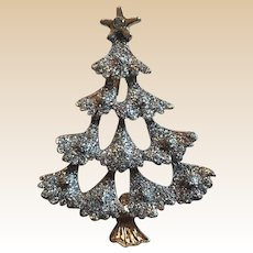 Gold Tone Silver Glittery Christmas Tree Pin