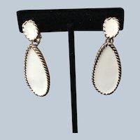 White Napier Clip Earrings