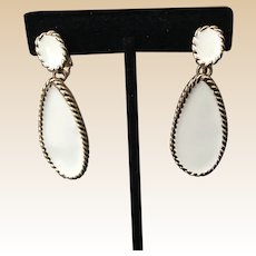 White Napier Clip Earrings