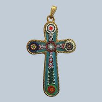 Micro Mosiac Italy Cross Pendant