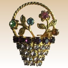 Pretty Vintage Rhinestone Flower Basket Pin
