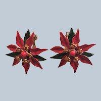 Poinsettia Clip Earrings Set Book Piece