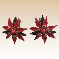 Poinsettia Clip Earrings Set