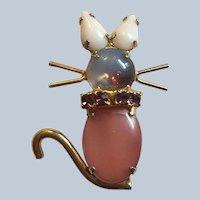 Beautiful Glass Moonstone Rhinestone Figural Mouse Pin