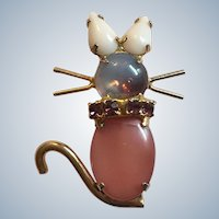 Beautiful Glass Moonstone Rhinestone Figural Mouse Pin