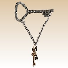 Unique Figural Rhinestone Dangle Key Pin