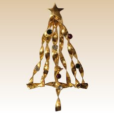 Large Gold Tone Rhinestone Christmas Tree Pin