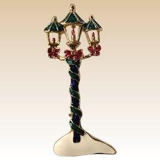 Large Enamel Christmas Candle Lantern Pin
