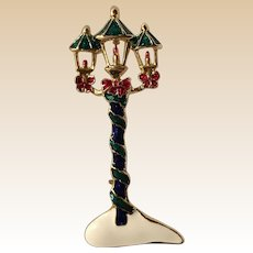 Large Enamel Christmas Candle Lantern Pin