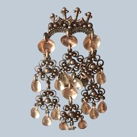 Beautiful Vintage Norweigian Solje Crown Heart Sterling Dangly Pin