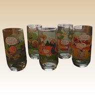 1983 Mc Donald's Complete set of Five Camp Snoopy Peanut Glasses