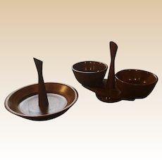 Mid Century Kustom Kraft Walnut Serving Nut Bowl Set