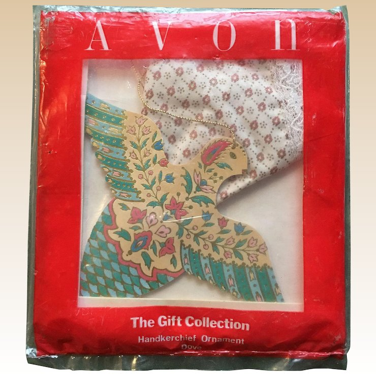 Avon Christmas Dove Handkerchief Ornament : Cheries Collectible Treasures | Ruby Lane
