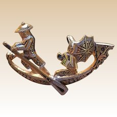 1960's Figural Spain Damascene Gongola Pin