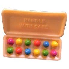 Vintage Hallmark Easter Handle With Care Egg Carton  Lapel Pin