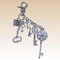 Sax Fifth Avenue Rhinestone Charm Key Holder