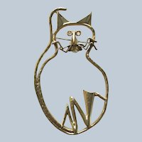 1980's-90's Large Modernistic Figural Gold Tone Cat Pin