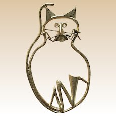 Large Moderistic Figural Cat Pin