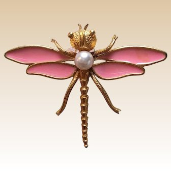 Gold Tone Figural Pink Dragonfly Pin