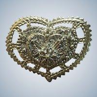 Large Silvertone Signed Heart Pin/Pendant
