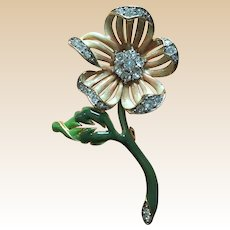 Beautiful Nolan Miller Enamel Rhinestone Flower Pin