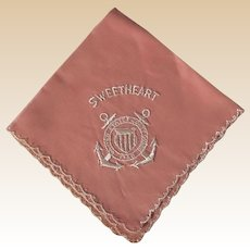 United States Coast Guard 1790 Pink Hand Embroidered Sweetheart Handkerchief
