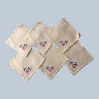 Vintage Hand Embroidered Linen Dollie Set