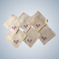 Vintage Hand Embroidered Linen Dollie Set