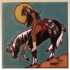 1995 End of The Trail Earthtones Decorative Tile