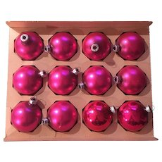 Glass Trim Time Shiny Brite Product Pink Christmas Ornament Set of Twelve