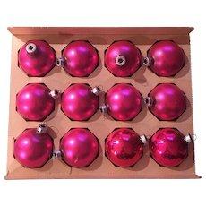 Glass Trim Time Shiny Brite Product Pink Christmas Ornament Set of Twelve