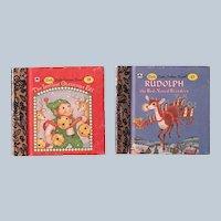 Miniature Little Little Golden Book The Littlest Christmas Elf and Rudolph