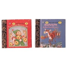 Miniature Little Little Golden Book The Littlest Christmas Elf and Rudolph