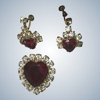 Red Glass Rhinestone Heart Pin/Pendant Earring Set