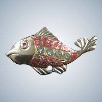 Spain Metal Rhinestone Fish Pin