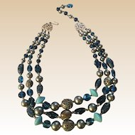 Beautiful Blue and Gray Triple Strand Beaded Japan Necklace