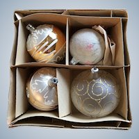Four Poland Glass Christmas Ornament Set