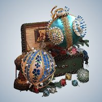 Vintage Retro Blue and Turquoise Handmade Beaded Christmas Ornaments