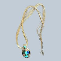 Carolyn Pollack Sterling Multi Inlay Pendant With Liquid Silver Chain