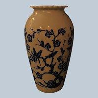 Mid Century Anchor Hocking Milk Glass Vase With Cobalt Blue Bird and Flower Decoration