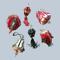 Handmade 60's-70's Beaded Sequin Christmas Ornament Set Of Six